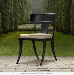 Restoration Hardware Klismos outdoor furniture line.