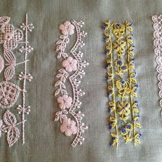 Hand Embroidery Flowers, Hand Embroidery Tutorial, Embroidery Sampler, Hand Embroidery Stitches, Hand Embroidery Designs, Vintage Embroidery, Embroidery Techniques, Ribbon Embroidery, Hand Embroidery Projects