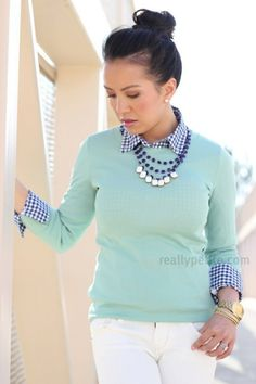 Stitchfix Stylists: Like this color combo. Such a a pretty minty-blue sweater. Love how the necklace ties both shirt and sweater together and the white pants!