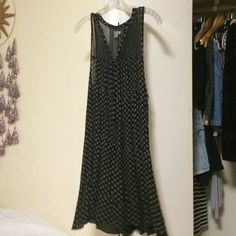 Urban Outfitters sleeveless dress UO brand Ecote, two inch straps, v neck, black with beige pattern, very loose and comfortable, cuts just about 3-4 inches above the knees Urban Outfitters Dresses