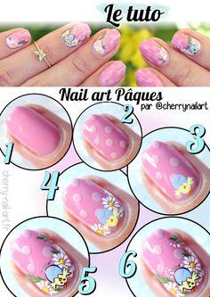 tuto-nail-art-paques-poussin-fleurs-pois