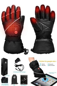 0898417c35ad9 Electric Heated Gloves Men Women Ski Snow Mitten Glove Winter Hand Warmer   fashion  clothing