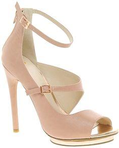 Asos Platonic Peep Toe Heeled Shoes  Lyst