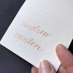 Copper tented place card, wedding and rehearsal dinner, custom calligraphy. Beautiful for fall weddings and events! #weddings #copper #wedding #metallictablecard #copperwedding #copperplacecard