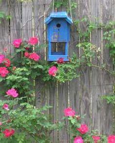 pretty blue bird house