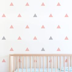 Create a modern feature wall with triangle wall stickers. Apply as a geometric pattern to look like wallpaper or randomly as triangle wall stickers. Wall Stickers Triangles, Triangle Wall, Nursery Wall Stickers, Wall Stickers Home Decor, Pink Bedrooms, Nursery Inspiration, Baby Decor, Home Decor Bedroom, Girl Nurseries