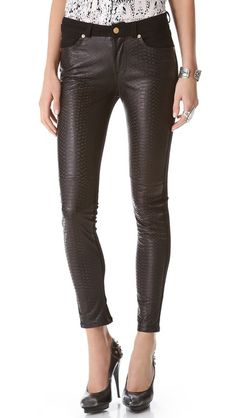 7 For All Mankind Pieced Leather Skinny Jeans