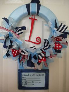 new baby boy ribbon wreath in nautical theme with birth announcement hanger for hospital door, baby shower and nusery Hospital Door Baby, Hospital Door Wreaths, Fun Baby Announcement, New Baby Announcements, Baby Shower Parties, Baby Shower Gifts, Baby Showers, Baby Door, Baby Birth