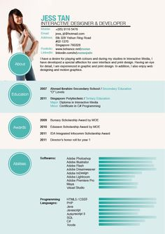 Resume by Jess Tan, via Behance-- this is amazing! I love it :)