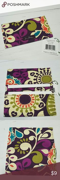 LAST DAY! Vera Bradley Checkbook Cover Slim Wallet Perfect condition, never used, with retail tag! Includes the 2 original cardboard inserts as shown in 2nd photo.  Retired PLUM CRAZY pattern  * Looking for more Vera Bradley items, visit my closet.  * 10% OFF BUNDLES! * FAST SHIPPING! Vera Bradley Bags Wallets