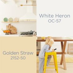 A luminous yellow meets a classic white in this spring-perfect pairing from the Color Trends 2020 palette. Paint Color Palettes, Neutral Paint Colors, Paint Colors For Home, House Colors, Interior Paint, Interior Design, Interior Colors, Popular Paint Colors, Benjamin Moore Colors