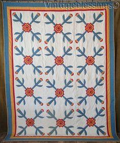 Fabulous! Antique c1860-1880 Cheddar Red & Blue Star Flower Applique QUILT 96x74, eBay, vintageblessings
