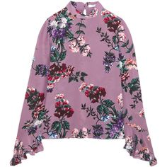 Erdem Lindsey floral-print silk-chiffon blouse (3 945 PLN) ❤ liked on Polyvore featuring tops, blouses, purple, sweaters, purple blouse, floral blouse, floral print tops, flower print blouse and high neck blouse