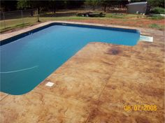Painted outdoor concrete around pool concrete pool deck design advice needed landscaping for Staines swimming pool timetable