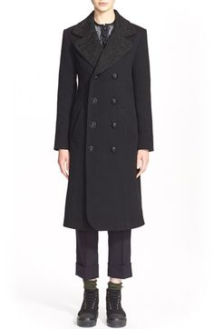 Julien David Embroidered Collar Wool Jersey Coat