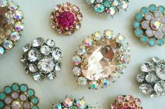 DIY Rhinestone Magnets! Made from cheapie earrings and heavy duty magnets! Would be great for a gift basket or party favor!