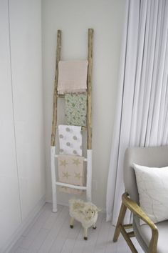 Bright & Whimsical Woodland Girl Nursery – Project Nursery Love this rustic paint dipped ladder for storing blankets in the nursery Woodland Nursery Girl, Deer Nursery, Whimsical Nursery, Baby Girl Nursery Themes, Woodland Nursery Decor, Rustic Nursery, Nursery Ideas, Nursery Neutral, Boho Nursery