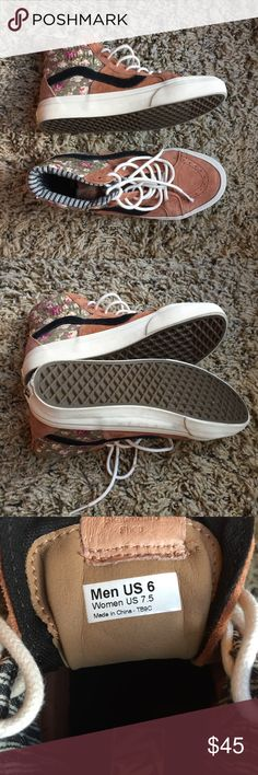 VANS FLOWER SKATE HIGHS WORN PROB 3 TIMES. GREAT CONDITION. 9/10. SIZE 7.5. LIKE NORMAL SKATE HIGHS. Vans Shoes Sneakers