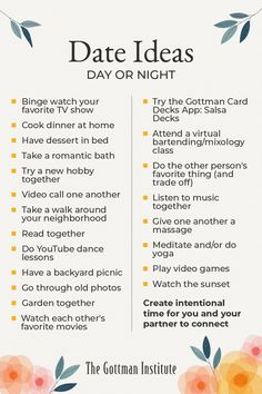 """In our Gottman Relationship Blog post """"6 Hours a Week to a Better Relationship,"""" Dr. John Gottman recommends couples dedicate at least two hours per week for leisurely, romantic time together. There's no single blueprint all couples should follow for dates — your """"we time"""" will be based on your unique relationship, interests, and circumstances. What's your favorite """"date"""" you've ever been on with your partner? Better Relationship, Relationship Blogs, Relationships, Romantic Bath, John Gottman, Backyard Picnic, Romantic Times, Yoga Lessons, Couple Stuff"""