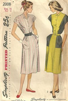Simplicity 2008 Vintage 40s Sewing Pattern by studioGpatterns, $14.50