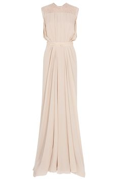 Elie Saab Lace Back Georgette Gown in Beige (multicolored)