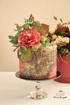 Flower cake with rose and Lotus by Evgenia Vinokurova