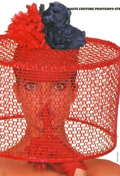 Elle France, March 1987 Photographer: Marc Hispard Model: Stephanie Seymour Hat by Pierre Cardin Stephanie Seymour, Pierre Cardin, Crazy Hats, Fancy Hats, Love Hat, Red Hats, Hats For Women, Ladies Hats, Lady In Red