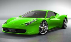 Neon Green Eco Ferarri Who said that Ferrari should be red? Look at the version in green? Uniquely beautiful car! It goes right?
