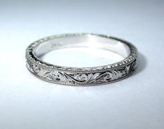 Hand Engraved 14k White Gold Wedding Band / by konstantinkapirin, $325.00