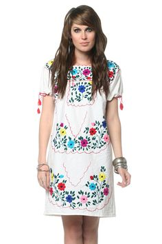 Embroidered Mexican Dress 60s 70s Hippie Boho Mini by oldage, $49.00