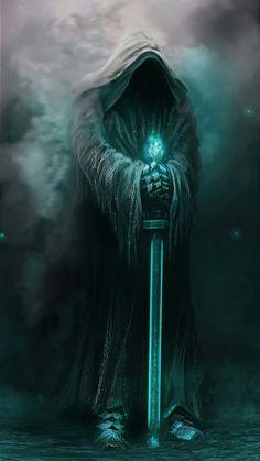 (Tolkien - Lord of Rings, Fellowship, Two Towers, Ring of the King) artwork Grim Reaper Art, Grim Reaper Tattoo, Dark Fantasy Art, Fantasy Artwork, Rock Poster, Dark Artwork, Bild Tattoos, Fantasy Pictures, Angels And Demons