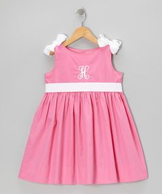 Take a look at this Hot Pink & White Initial Bow Dress - Infant, Toddler & Girls by Emily Lacey on #zulily today!