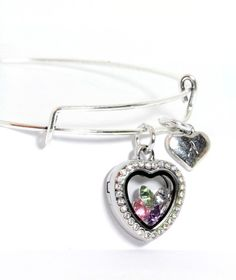Personalized Mini Rhinestone Heart Bangle Bracelet