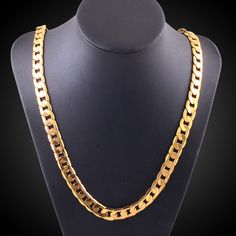 """Women Men Fashion Luxury 18""""-30"""" 6Mm Chain Curb Cuban Link Gold Necklace Jewelry"""