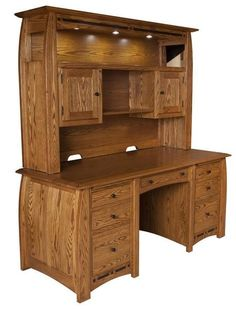 Amish Boulder Creek Desk with Optional Hutch Stunning solid wood desk full of features. Check out the lovely inlays. Available with or without the hutch top. Built by hand in choice of wood, finish and hardware.