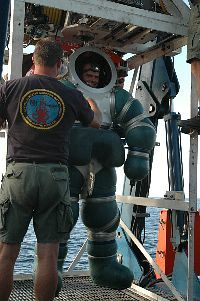 Chief Navy Diver Daniel Jackson completes a successful certification dive of the Atmospheric Diving System (ADS) aboard the special mission charter ship M/V Kell.ie Chouest .