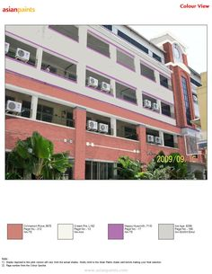 Maharishi Vidya Mandir Sec. School Principal need grey and purple combination so i gave this combination Mail Dream Hyacinth Exterior Color Combinations, Exterior Colors, Shade Card, Asian Paints, Page Number, Paint Shades, Ice Age, Cream Pie, Building