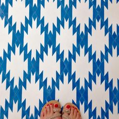 popham design's Toubkal tiles...to die for. Boho tile. Tile. Bathroom. Tile floor. Blue tile.
