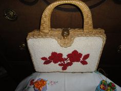 Vintage Red Floral Embroidered Beaded Wicker Box Purse White