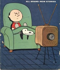tv with best buds #charliebrown #vintagecomics #snoopy #thepeanuts by somevelvetmorningx
