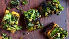 The spiced sweet potatoes and roasted broccoli can be made early in the day, but toast the bread just before assembling so it doesn't dry out.