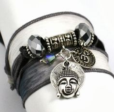 Anjali Charcoal to Slate Pewter Silk Wrap Yoga Bracelet with Buddha and Om Disc | www.downdogboutique.com