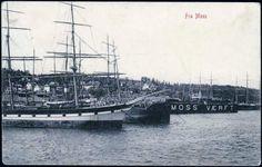 Moss i Østfold. Havnen med seilskuter.