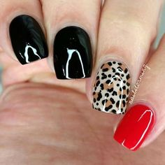 Love this animal print nail art design | fall nail art ideas | unas | ongles | acrylic and gel nails idea