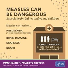 Parents: did you know your child can get measles just by being in a room where a person with measles has been, even up to 2 hours after that person has left? The best way to protect against measles is to get the MMR vaccination. Talk to your doctor to learn how you can protect your child from measles.