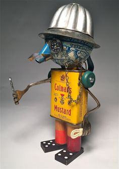 Col. Mustard Assemblage Art Spice Tin Robot by KitchyBots on Etsy