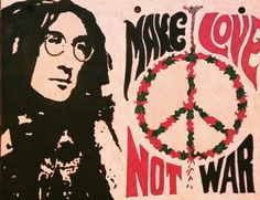 """Make love, Not war"" John Lennon -tinta sobre papel"