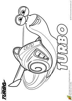 Belle illustration à colorier de Turbo, l'escargot rally