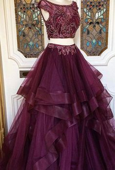 Two Pieces Prom Dress with Tiered Skirt