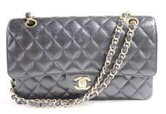Chanel Classic Double Flap Shoulder Bag Black Caviar Leather Gold Chain